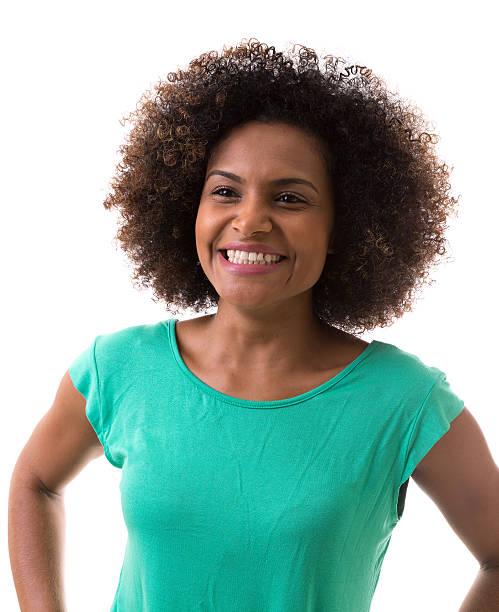 Brasileira Retrato de jovem mulher no fundo branco - foto de acervo