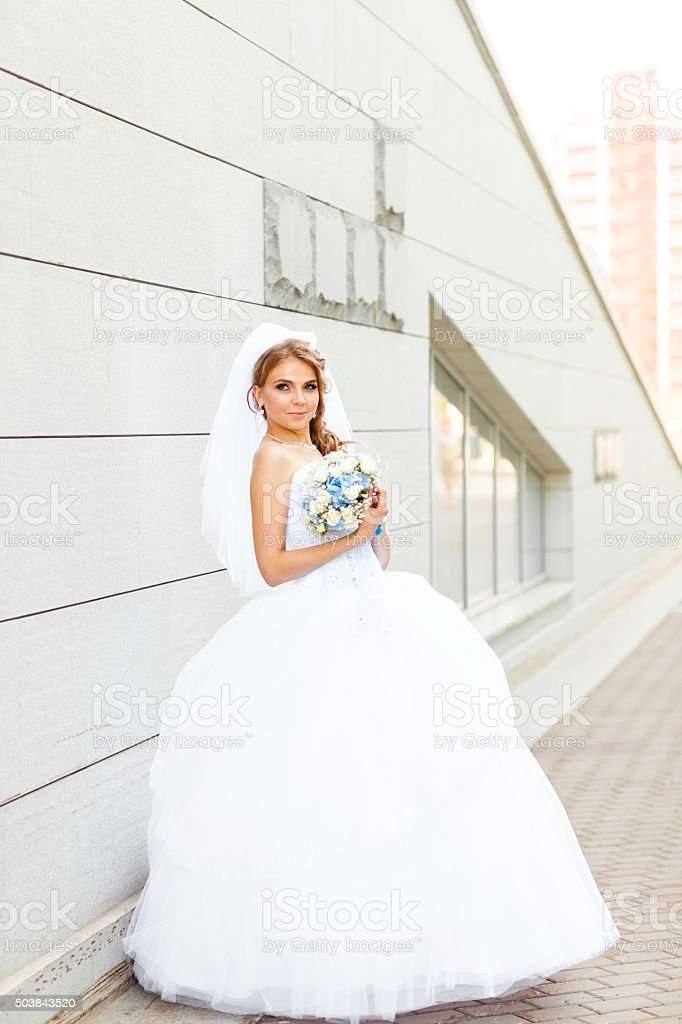 Portrait of  young bride in  white dress with a wedding stock photo