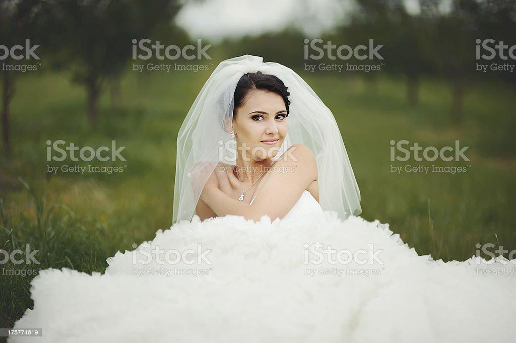 portrait of young brunette bride stock photo