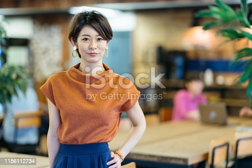 A portrait of a young business woman in a modern co-working space.