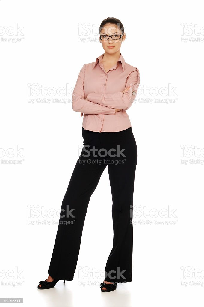 Portrait of young businesswoman standing isolated on white background royalty-free stock photo