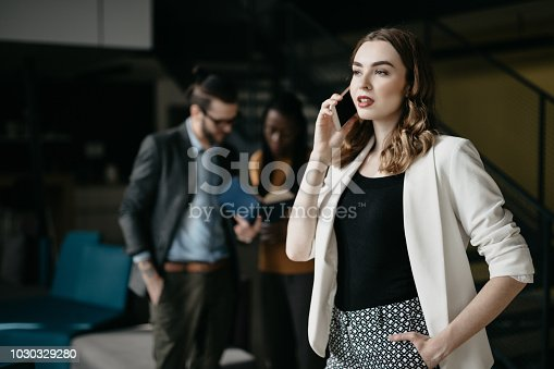 590241864istockphoto Portrait of young businesswoman talking on the phone in busy office 1030329280
