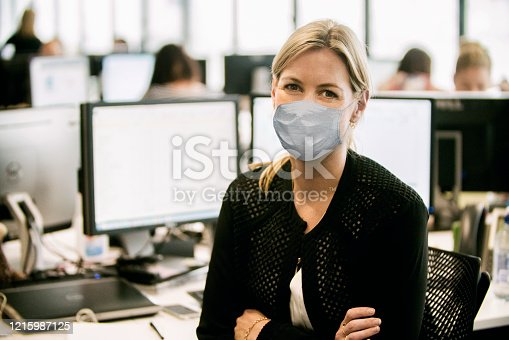 Portrait of a young businesswoman wearing healthcare mask.