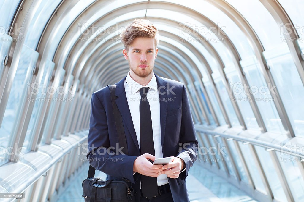 portrait of young caucasian business man stock photo