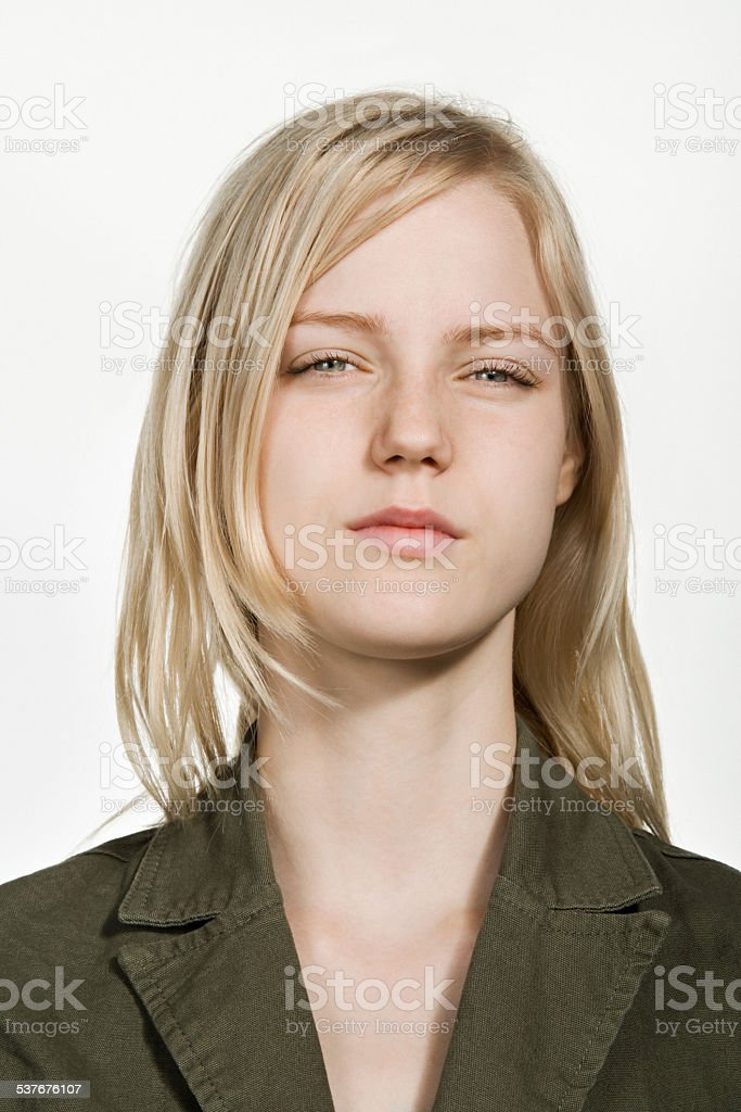 Portrait of young caucasian woman stock photo