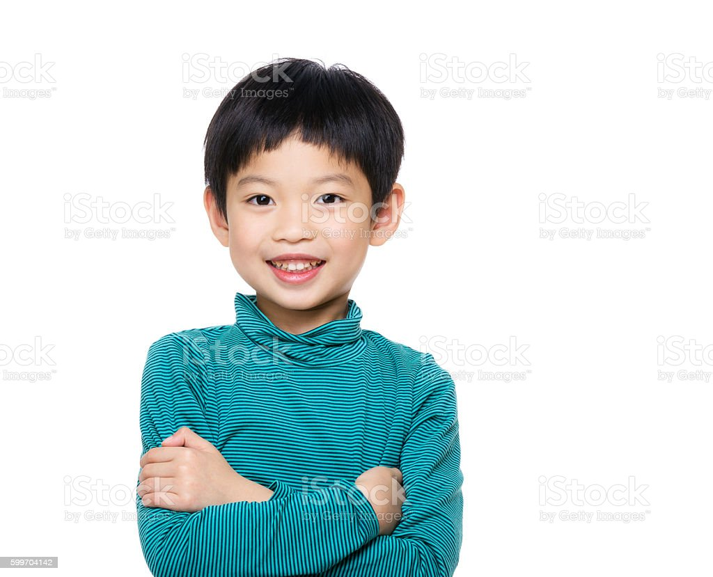 Portrait of young Chinese boy stock photo