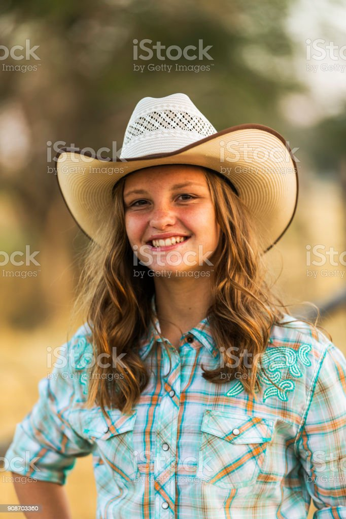 Portrait of Young Country Girl stock photo
