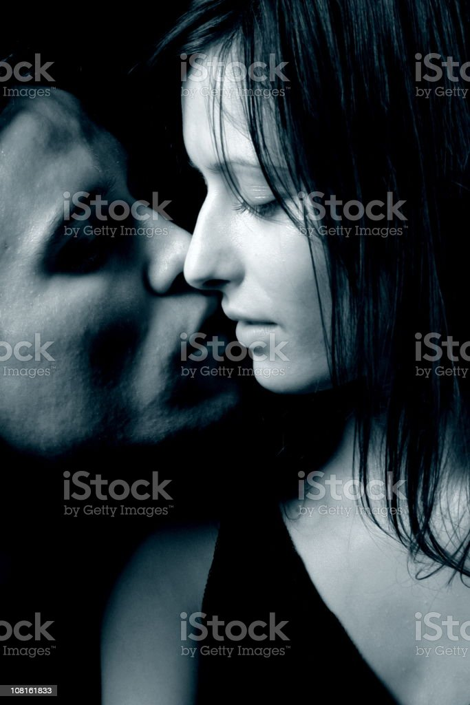 Portrait of Young Couple About to Kiss, Toned royalty-free stock photo