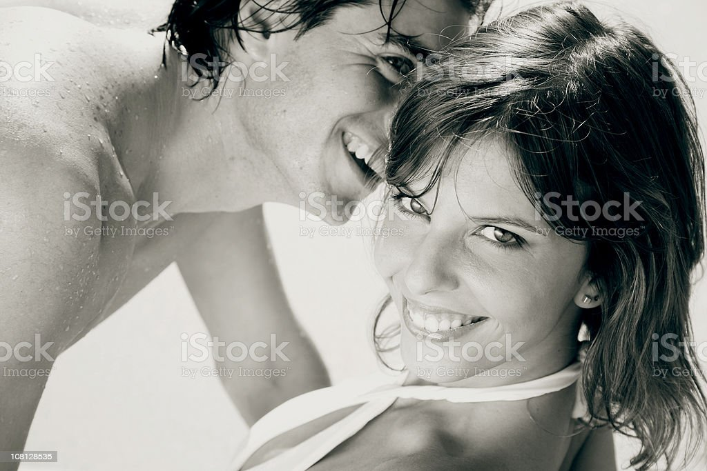 Portrait of Young Couple at the Beach stock photo
