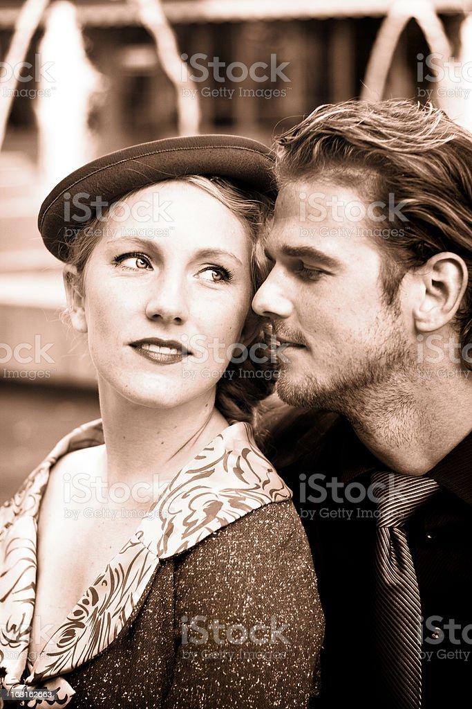 Portrait of Young Couple, Retro royalty-free stock photo