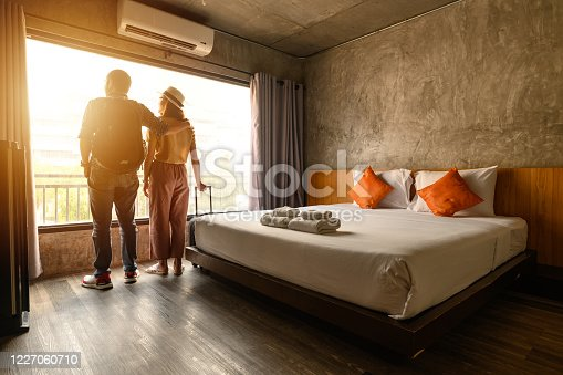 Conceptual of couple travel and vacation in their honeymoon period.