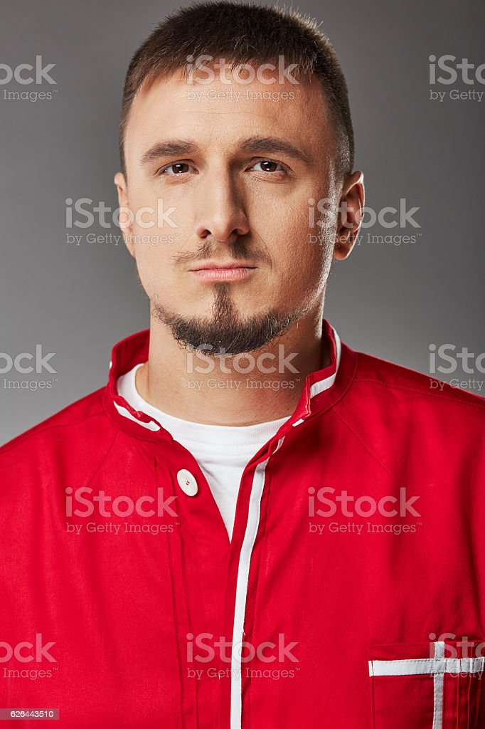 Portrait of young druggist stock photo