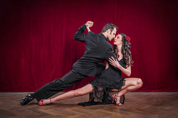 Portrait of young elegant tango dancers. stock photo