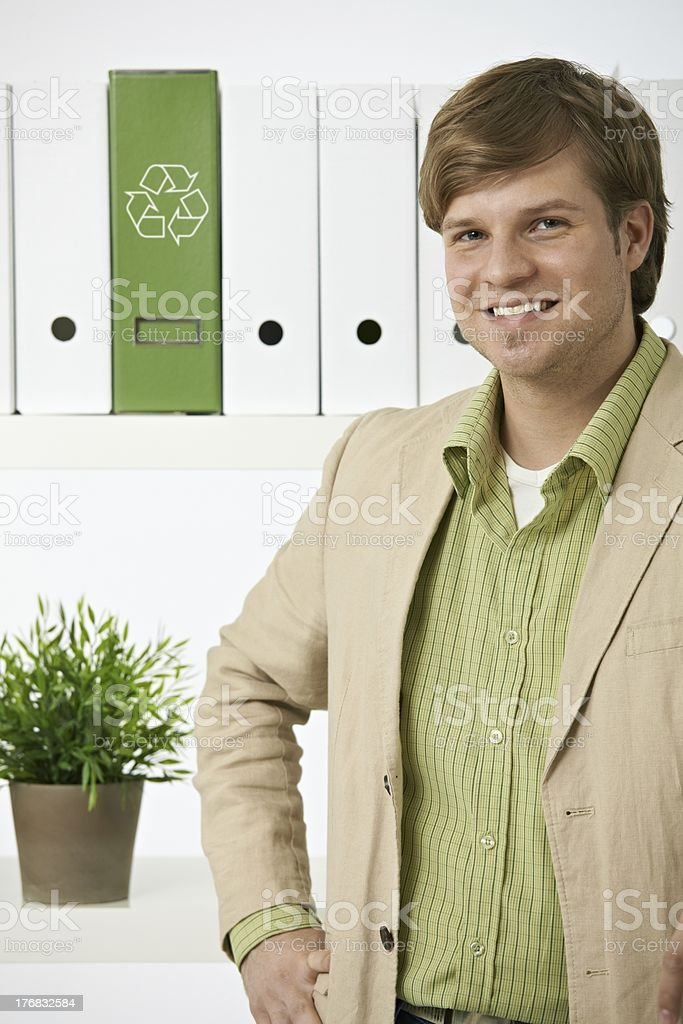 Portrait of young environmentalist man royalty-free stock photo