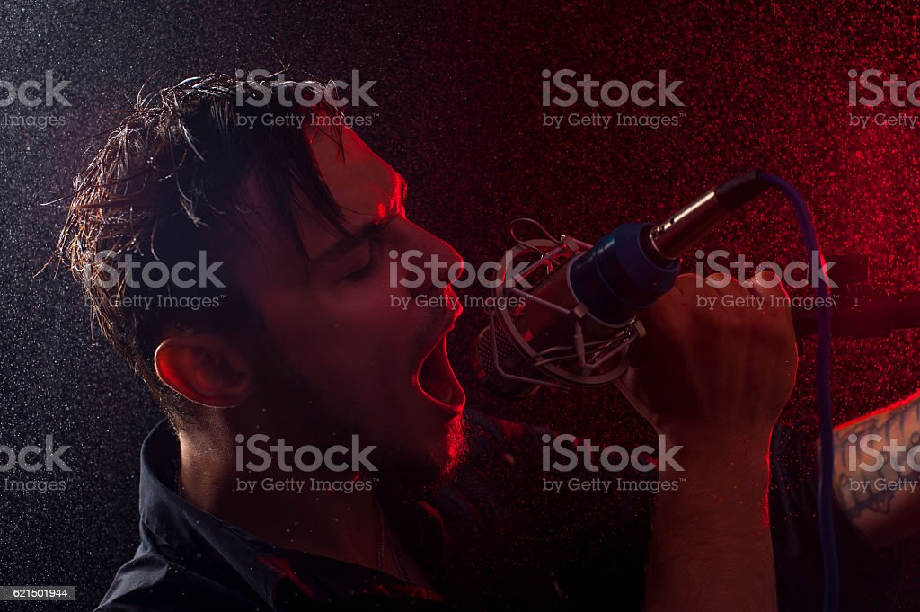Portrait of young expressive rock performer foto stock royalty-free
