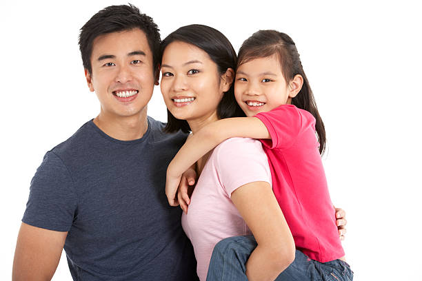 Portrait of young family in front of white background stock photo