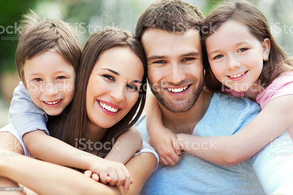Portrait of young family stock photo