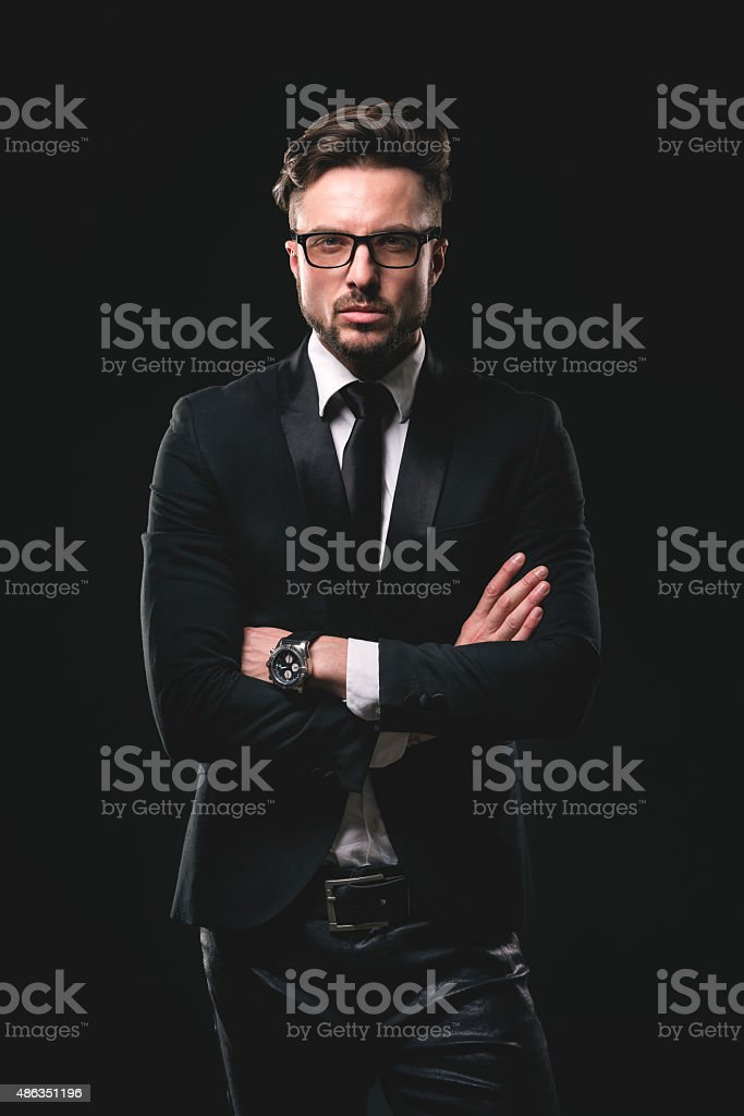 Portrait of young fashionable man stock photo