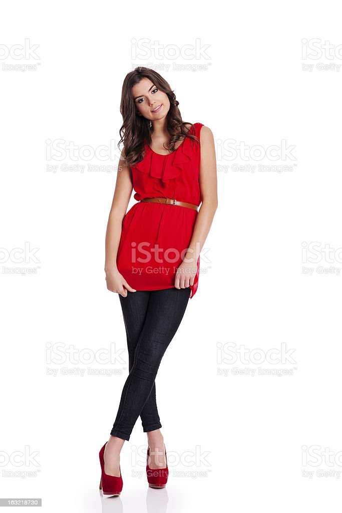 Portrait of young fashionable woman stock photo