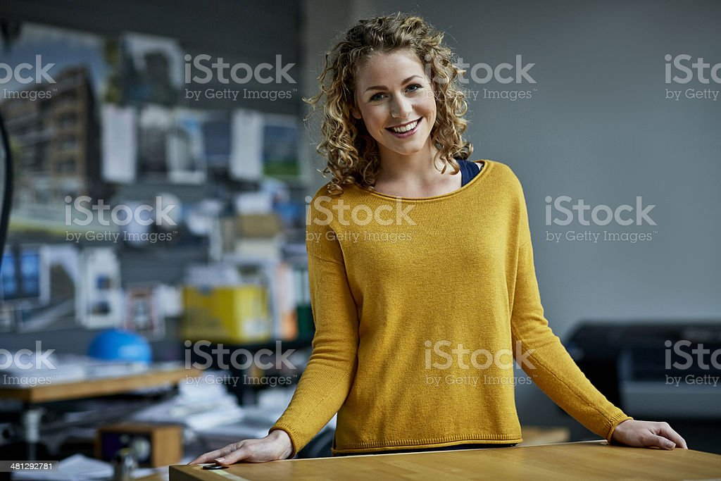 Portrait of young female architect stock photo