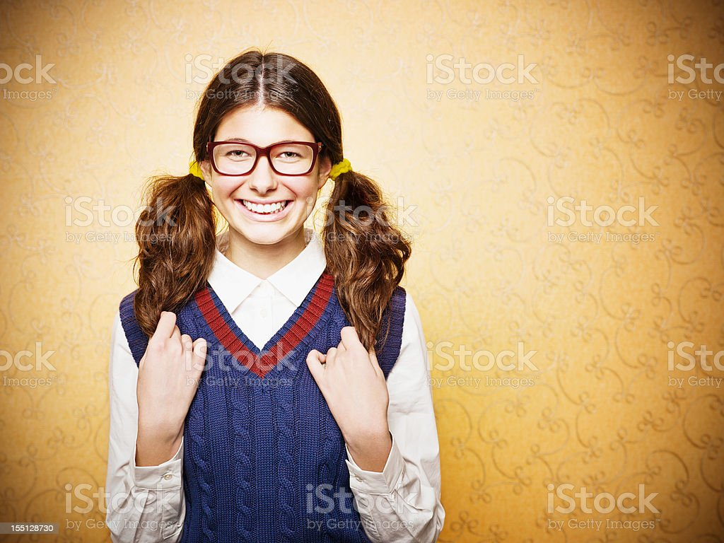 Portrait of young female nerd stock photo