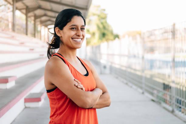 Porträt der jungen Läuferin – Foto