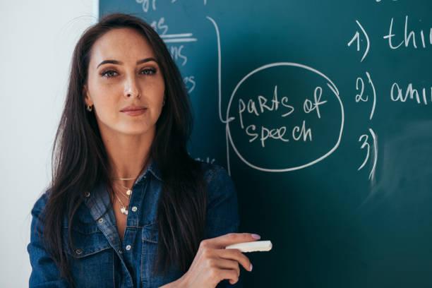 portrait de jeune enseignante contre le tableau en classe - langue anglaise photos et images de collection