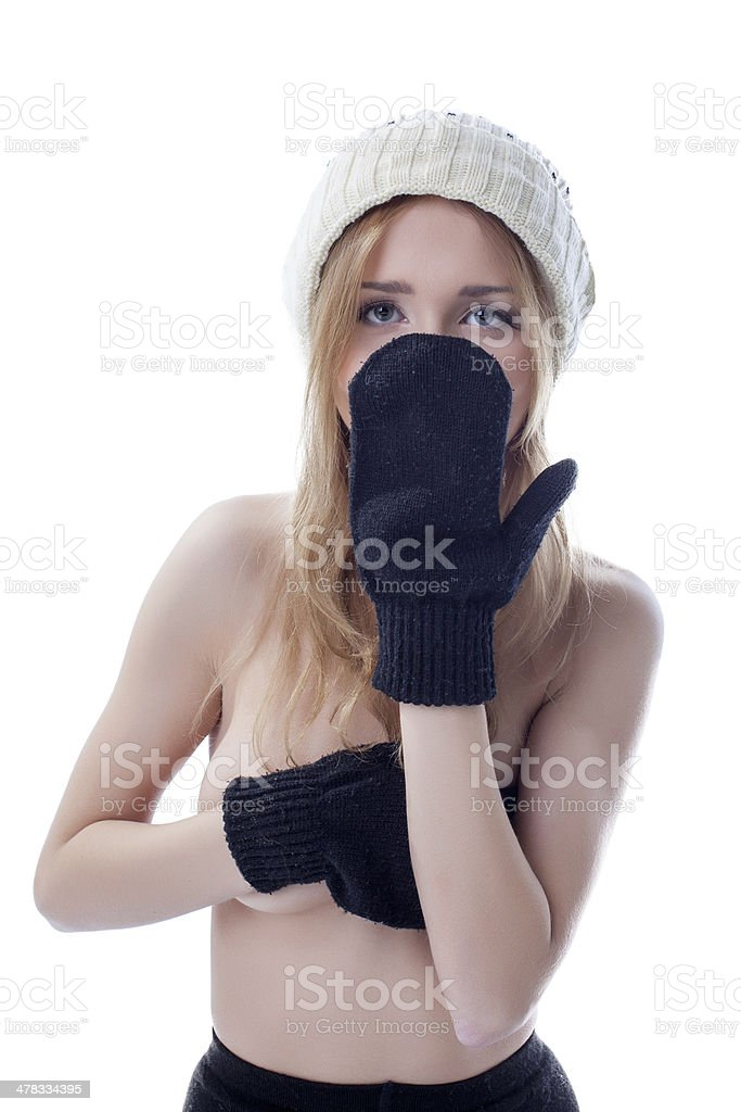 Portrait of young girl covering her face mitten royalty-free stock photo
