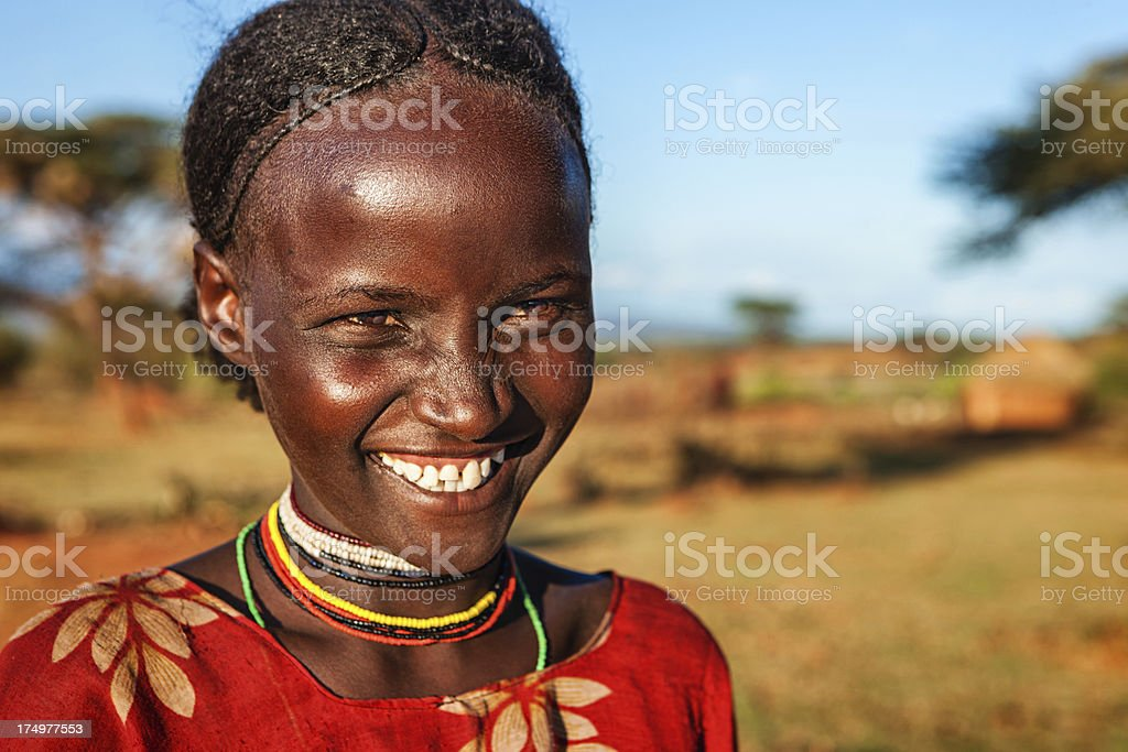 Portrait of young girl from Borana, Ethiopia, Africa royalty-free stock photo