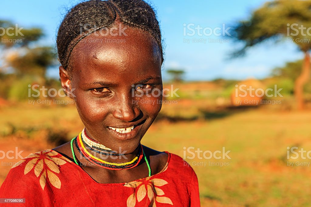 Portrait of young girl from Borana, Ethiopia, Africa stock photo