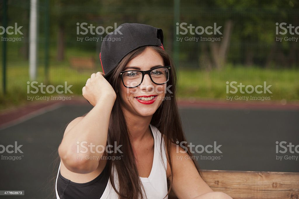 Portrait Of Young Girl On Playground stock photo