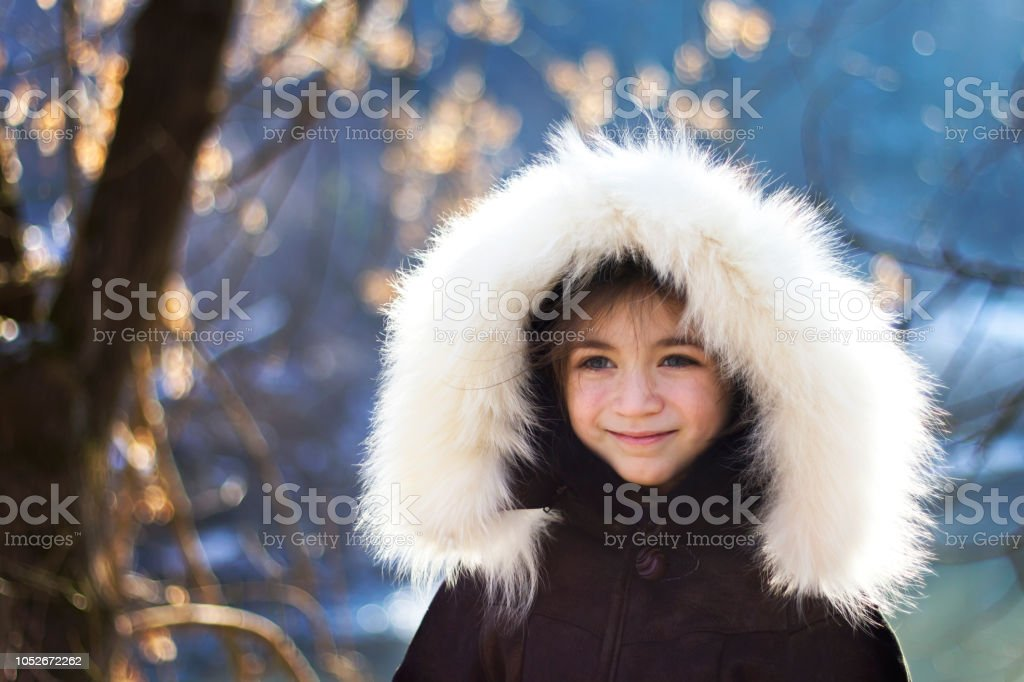 987fb2fcfdba Portrait Of Young Girl Wearing Fur Lined Coat Hood Stock Photo ...