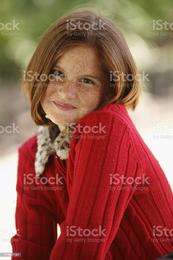 young girl with red hair stock photo image of forest portrait of young girl with freckles and red hair stock