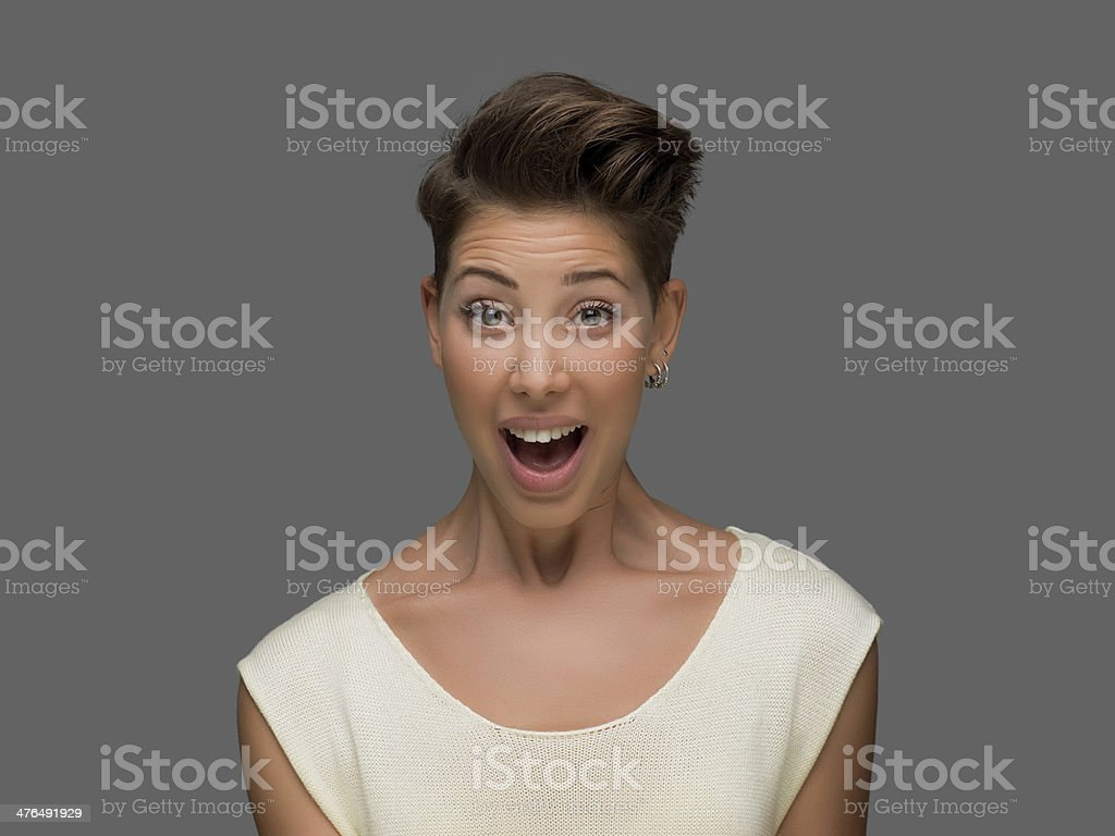 Portrait of young girl with surprised expression royalty-free stock photo