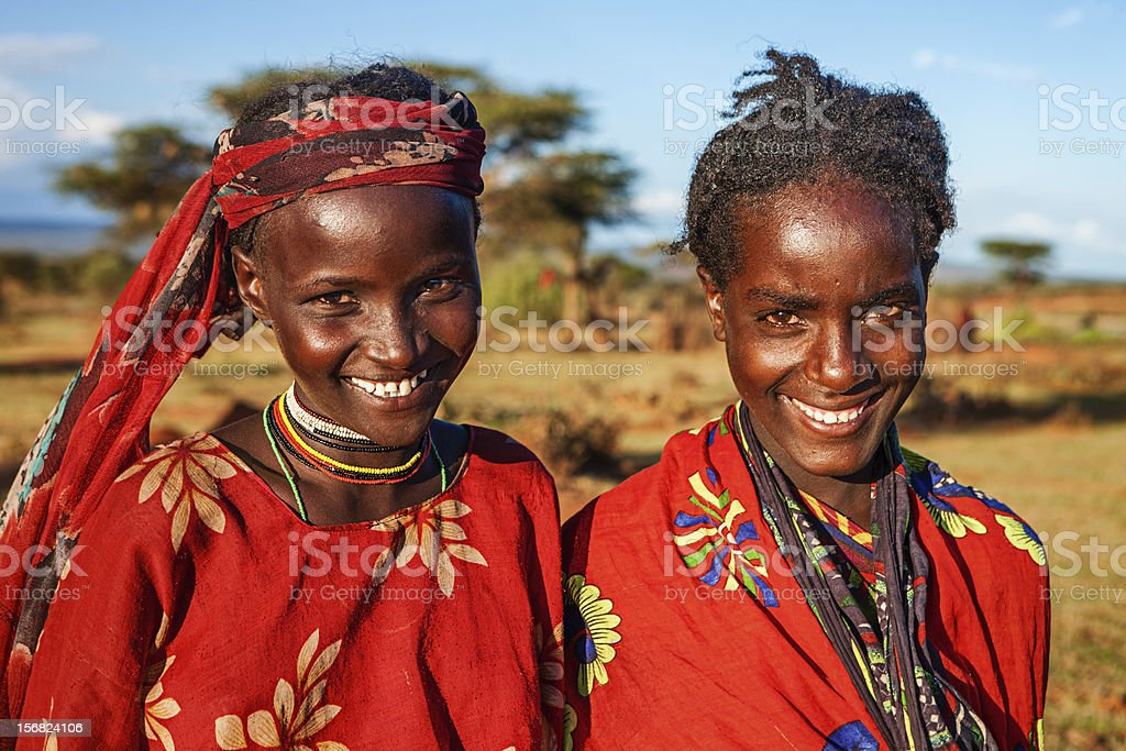 Portrait of young girls from Borana, Ethiopia, Africa stock photo