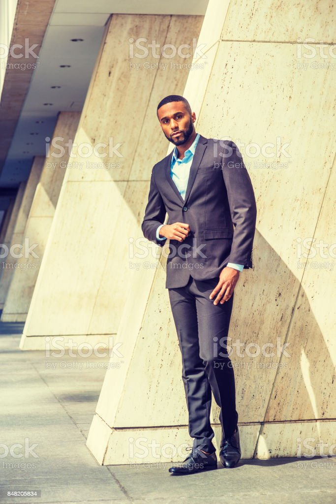 Portrait of Young Handsome African American Businessman stock photo