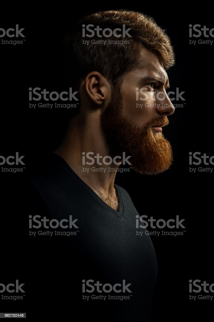 Portrait of young handsome bearded man looking forward stock photo