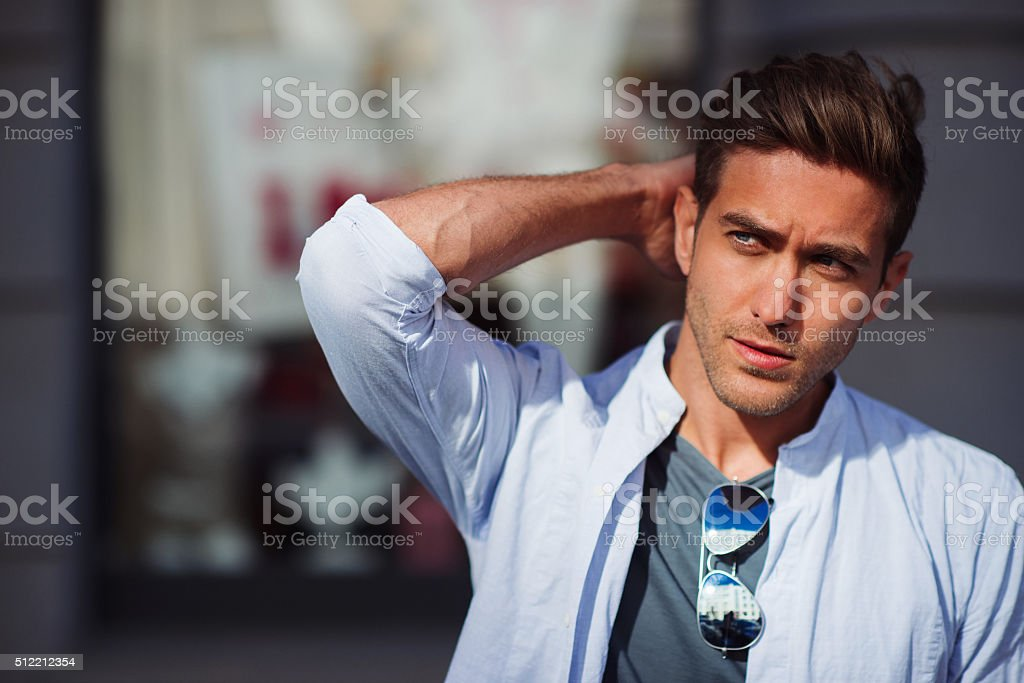 Portrait of young handsome man stock photo