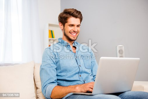 944992706 istock photo Portrait of young happy freelancer working on laptop at home 947338768