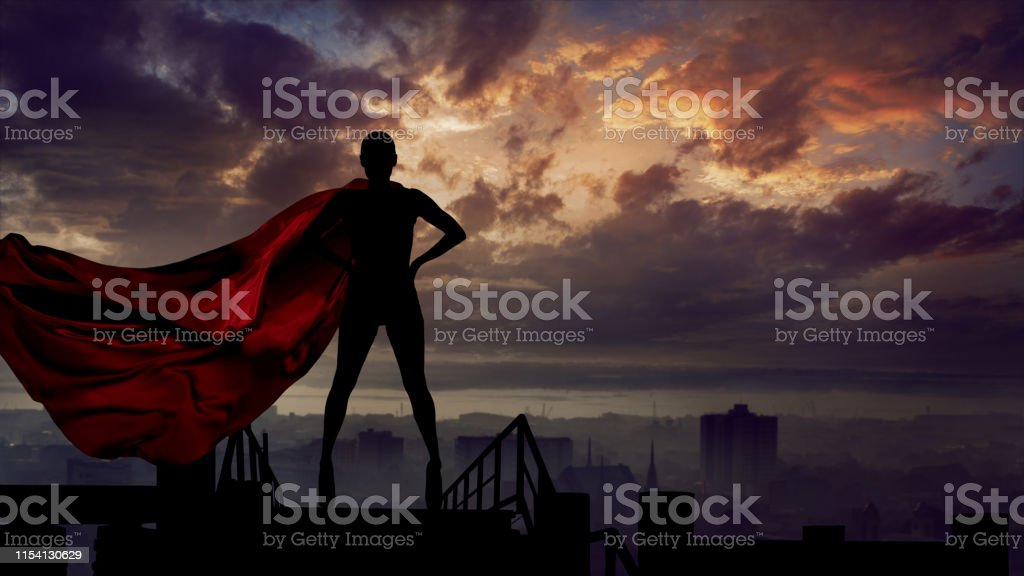 Portrait of young hero woman with super person red cape guard city Abstract silhouette portrait of young hero woman with super person red cape guard city Abstract Stock Photo