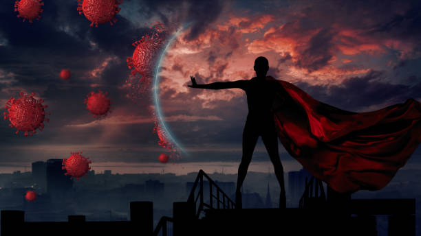 Portrait of young hero woman with super person red cape protect city