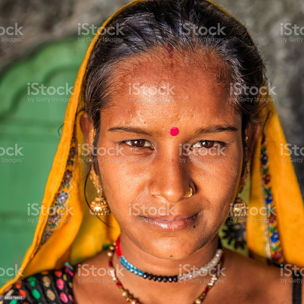 Portrait of young Indian woman, Amber, India stock photo