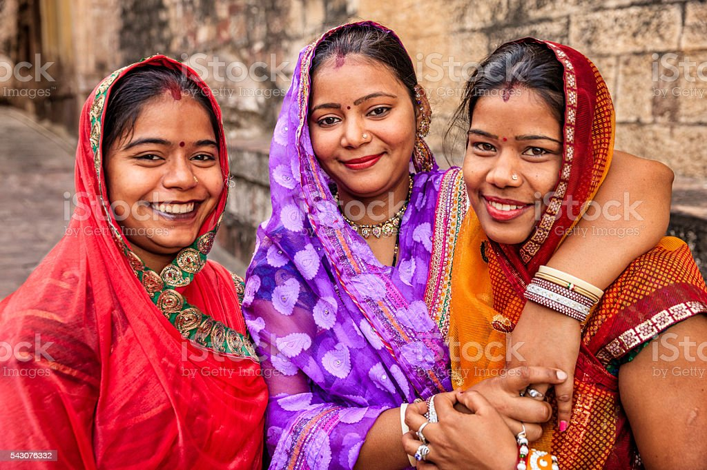 Portrait of young Indian women Jodhpur, India stock photo