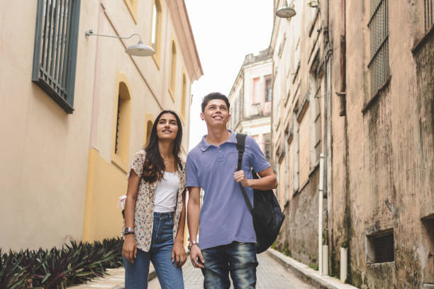 Portrait of young interracial couple stock photo