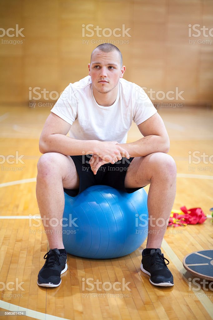 Portrait of Young Male Athlete in the Gym royalty-free stock photo