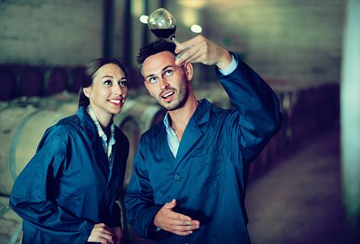 ✅ Imagen de dos empleados de la bodega con Copa de vino Fotografía de Stock