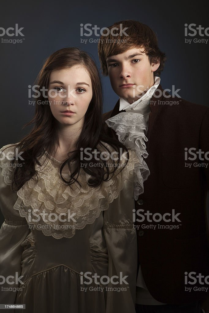 Portrait of Young Man and Woman Vintage Style royalty-free stock photo