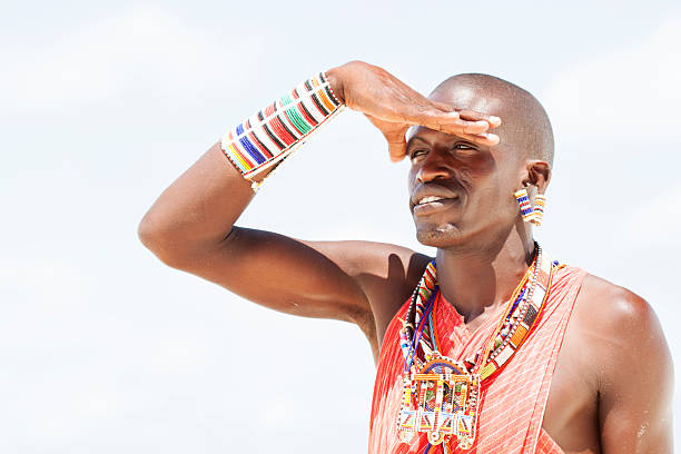 portrait of young man as massai warior - kenyan culture stock photos and pictures