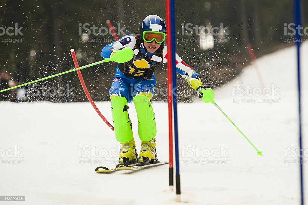 Portrait of young man at slalom ski competition stock photo