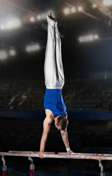 portrait of young man gymnasts stock photo